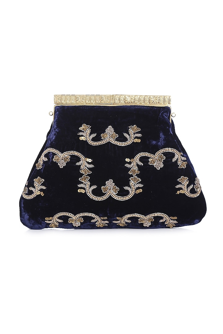Navy Blue Velvet Embroidered Box Clutch by Praccessorii