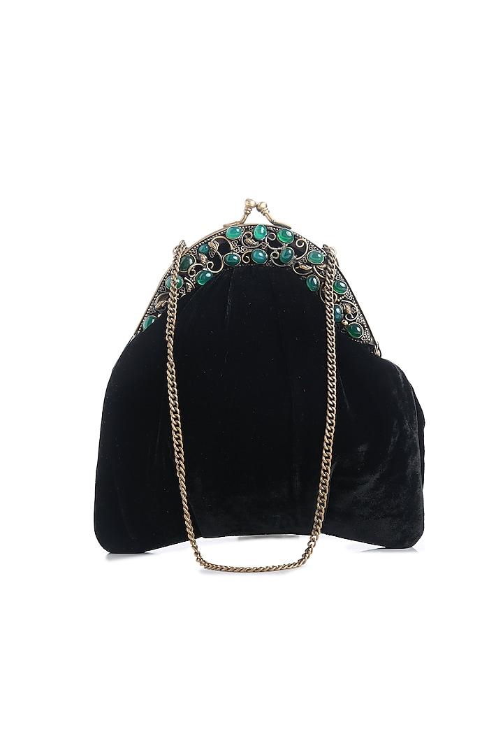 Black Gemstone Embellished Box Clutch by Praccessorii