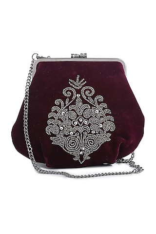 Maroon Embroidered Velvet Box Clutch by Praccessorii