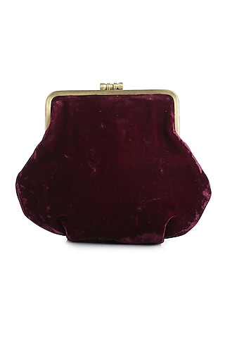 Maroon Gold Embroidered Velvet Box Clutch by Praccessorii