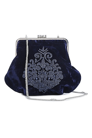 Navy Blue Embroidered Velvet Box Clutch by Praccessorii