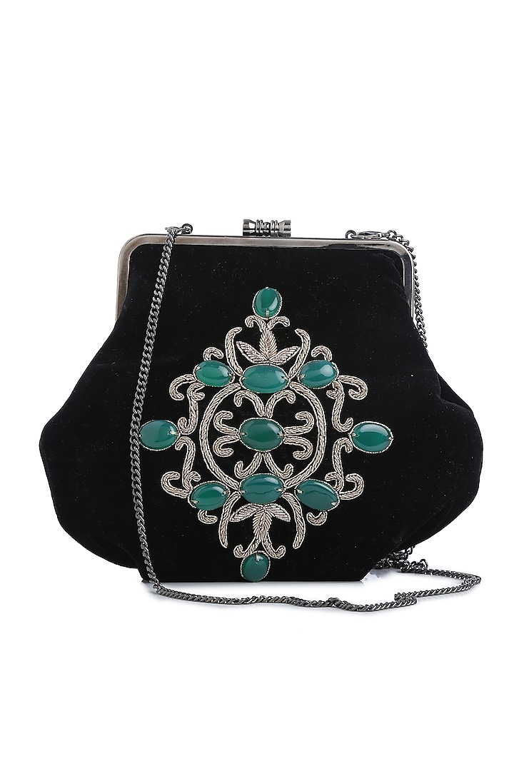 Black Embellished Velvet Box Clutch by Praccessorii