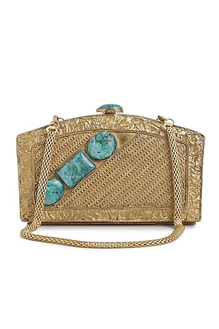 Dull Gold Embellished Clutch by Praccessorii