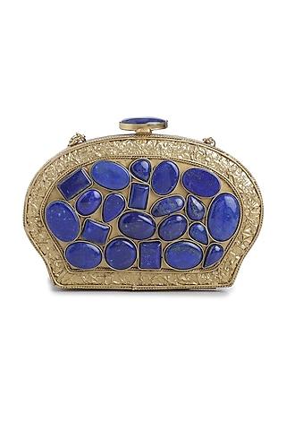 Dull Gold Lapis Lazuli Embellished Shell Clutch by Praccessorii
