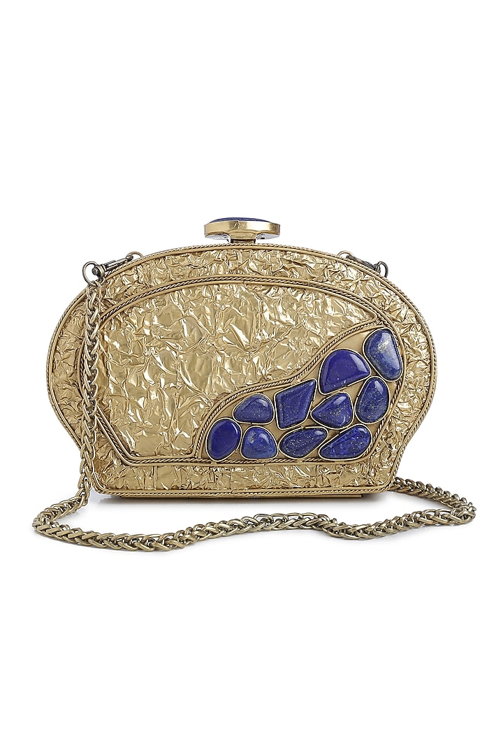 Dull Gold Embellished Shell Clutch by Praccessorii