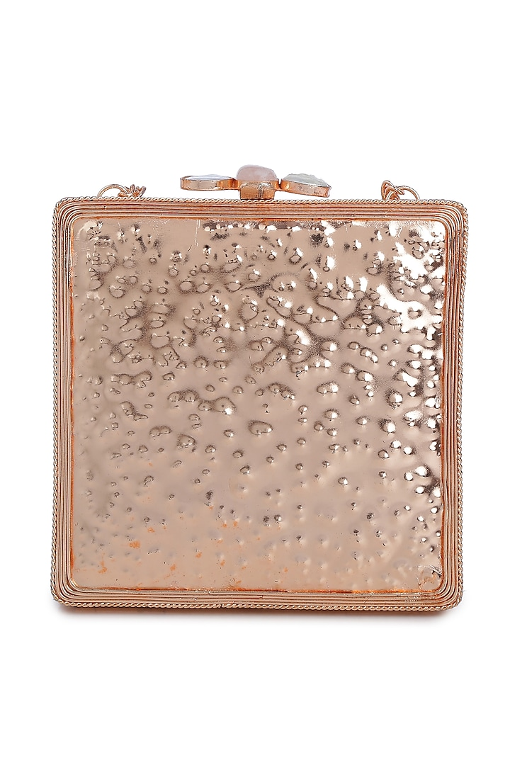 Gold Embellished Rectangle Shell Clutch by Praccessorii