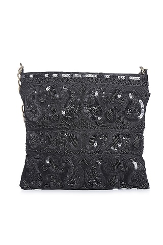Black Embroidered Sling Bag by Praccessorii