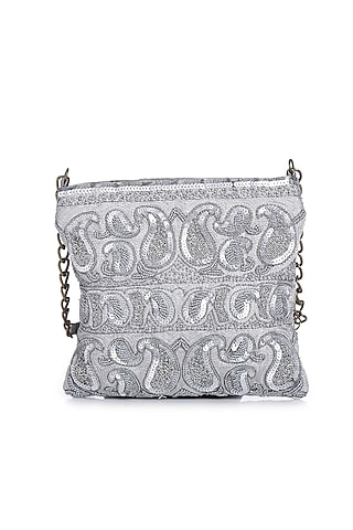 Silver Embroidered Sling Bag by Praccessorii