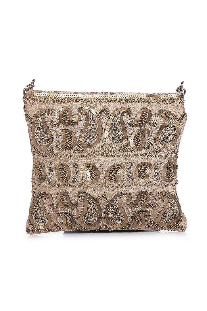 Golden Embroidered Sling Bag by Praccessorii