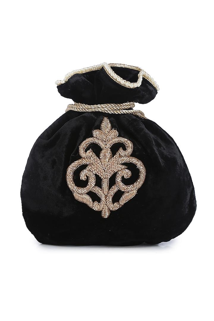 Black Zardosi Embroidered Polti by Praccessorii