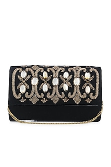 Black Embroidered Velvet Flap Over Clutch by Praccessorii
