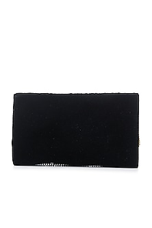 Black Hand Embroidered Flap Over Clutch by Praccessorii