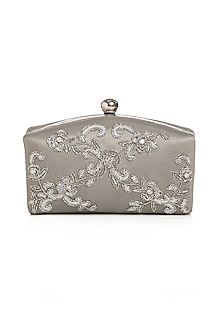 Dull Silver Embroidered Clutch by Praccessorii