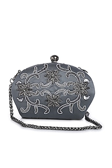 Dull Silver Hand Embroidered Clutch by Praccessorii