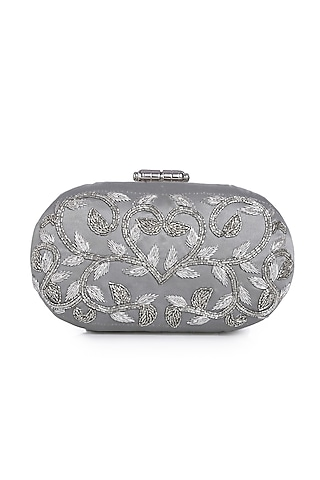 Silver Floral Embroidered Clutch by Praccessorii