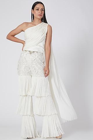White Sequins Sharara Set by Prakriti Chawla