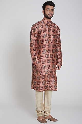 Pink & Ivory Printed Kurta Set by Pranay Baidya Men