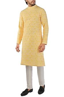 Yellow Embroidered Kurta by Pranay Baidya Men