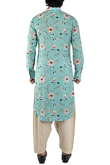 Sea Blue Floral Printed Kurta by Pranay Baidya Men
