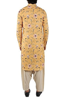 Yellow Floral Printed Kurta by Pranay Baidya Men