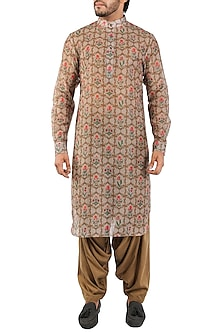 Beige Brown Printed Pathani Kurta by Pranay Baidya Men