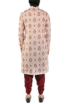 Light Pink Printed Asymmetrical Kurta by Pranay Baidya Men