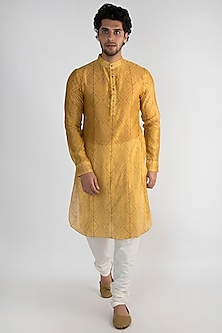Golden Yellow Embroidered Long Kurta by Pranay Baidya Men
