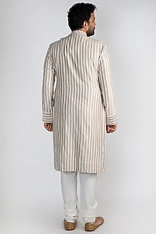 Nude Striped & Embroidered Kurta by Pranay Baidya Men