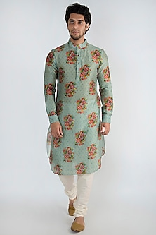 Blue Printed Long Kurta by Pranay Baidya Men