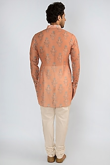 Peach Printed Short Kurta by Pranay Baidya Men