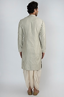 Pistachio Green Embroidered Kurta by Pranay Baidya Men