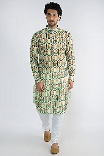Mint Green Jaali Printed Long Kurta by Pranay Baidya Men