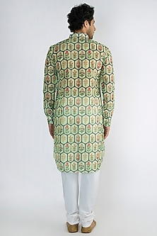 Mint Green Jaali Printed Long Kurta by Pranay Baidya Men