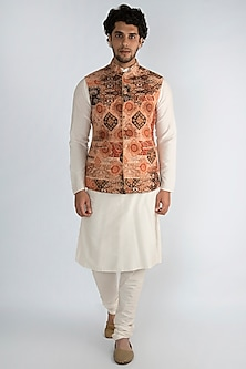 Brown Printed Nehru Jacket by Pranay Baidya Men