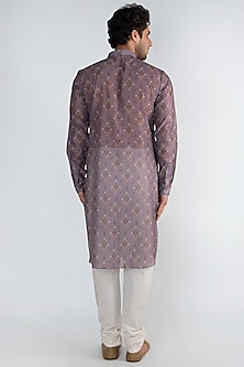 Purple Floral Printed Long Kurta by Pranay Baidya Men