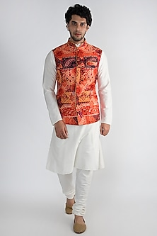 Red Printed Cotton Silk Nehru Jacket by Pranay Baidya Men