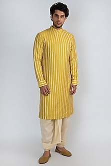 Golden Yellow Embroidered Kurta by Pranay Baidya Men