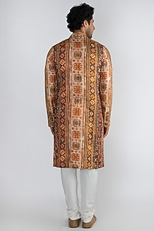 Orange Printed Achkan Kurta by Pranay Baidya Men