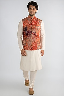 Red Printed Collared Nehru Jacket by Pranay Baidya Men