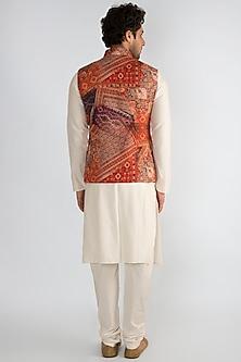 Red Printed Collared Nehru Jacket by Pranay Baidya Men