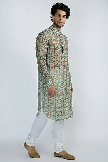 Mint Green Printed Long Kurta by Pranay Baidya Men