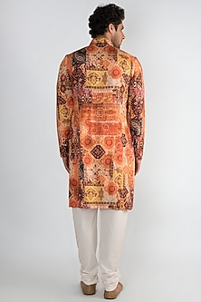 Orange Achkan Printed Kurta by Pranay Baidya Men