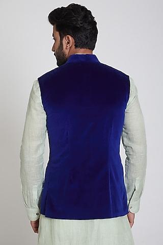 Cobalt Blue Velvet Nehru Jacket by Pranay Baidya Men