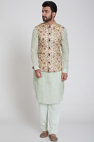 Peach Embroidered Nehru Jacket by Pranay Baidya Men