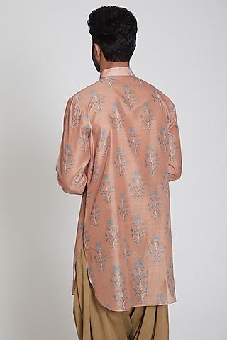 Orange Printed Kurta by Pranay Baidya Men