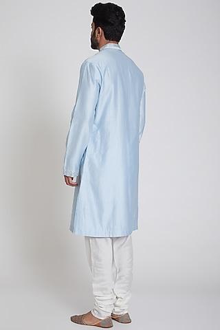 Powder Blue & White Kurta Set by Pranay Baidya Men