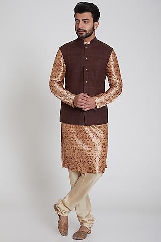 Brown Matka Nehru Jacket by Pranay Baidya Men