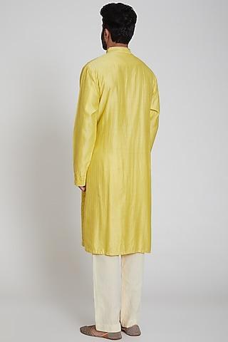 Yellow & White Embroidered Kurta Set by Pranay Baidya Men