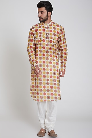 Multi Colored Printed Kurta by Pranay Baidya Men