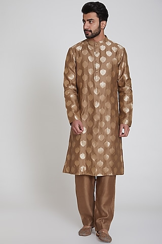 Brown Printed Kurta by Pranay Baidya Men
